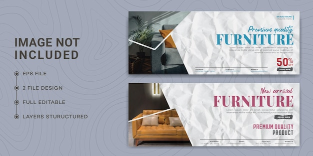 Design de modelo de página de capa do facebook de móveis modernos, papel colado, papel rasgado, venda de móveis