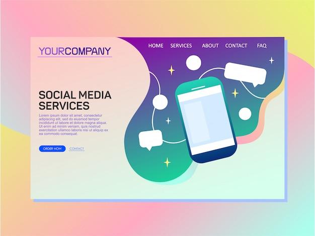Design de modelo de página de destino para serviços de mídia social