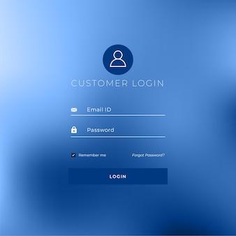 Design de modelo de página de login de estilo mínimo