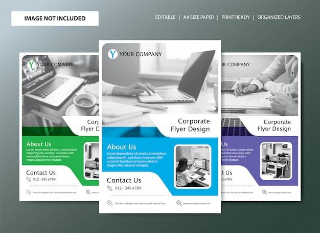 Design de modelo de panfleto com 3 opções de cores
