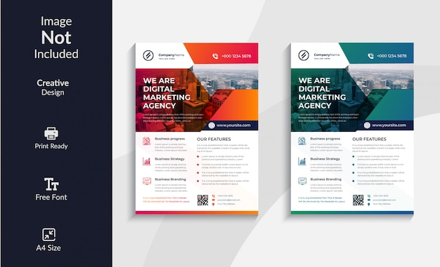 Design de modelo de panfleto de agência criativa de negócios