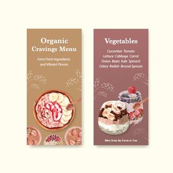 Design de modelo de panfleto de alimentos saudáveis e orgânicos para voucher, aquarela de propaganda