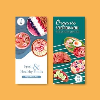 Design de modelo de panfleto de alimentos saudáveis e orgânicos
