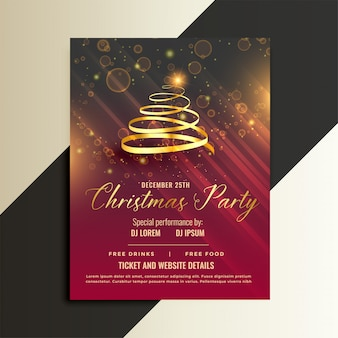 Design de modelo de panfleto de árvore de natal de fita dourada luxo