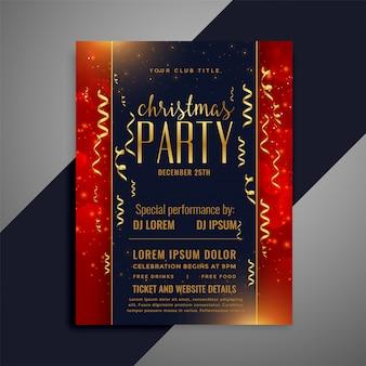 Design de modelo de panfleto de confetes de celebração de natal