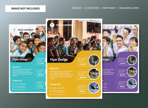 Design de modelo de panfleto de escola com 3 opções de cores