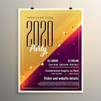 Design de modelo de panfleto de festa elegante ano novo de 2020
