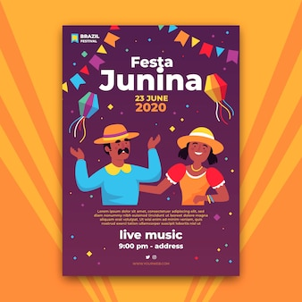 Design de modelo de panfleto de festa junina