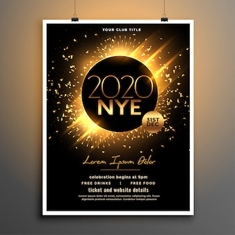 Design de modelo de panfleto de festa linda véspera de ano novo