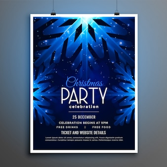 Design de modelo de panfleto de flocos de neve azul de festa de natal