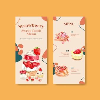 Design de modelo de panfleto de morango para brochura com ilustração em aquarela de cupcake, waffles, cheesecake e shortcake