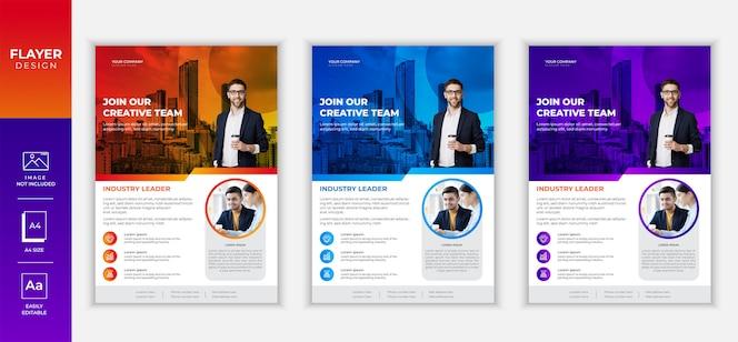 Design de modelo de panfleto de negócios criativos gradiente colorido