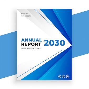 Design de modelo de panfleto de relatório anual azul geométrico de negócios