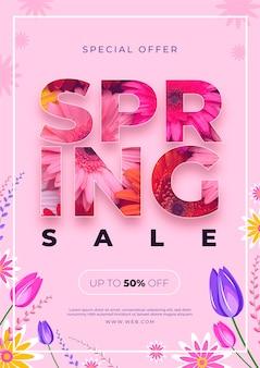 Design de modelo de panfleto de venda primavera
