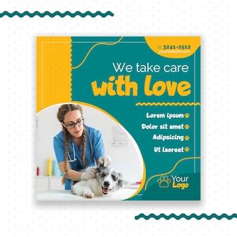 Design de modelo de panfleto veterinário