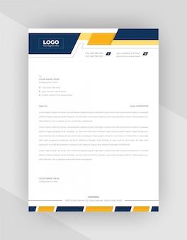 Design de modelo de papel timbrado corporativo amarelo e azul.