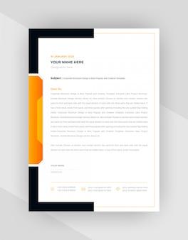 Design de modelo de papel timbrado corporativo amarelo e preto.