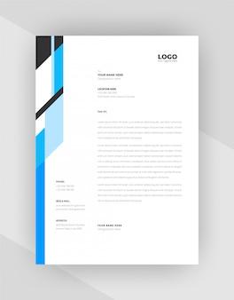 Design de modelo de papel timbrado criativo de cor ciano e preto.