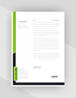 Design de modelo de papel timbrado criativo de cor verde e preto.