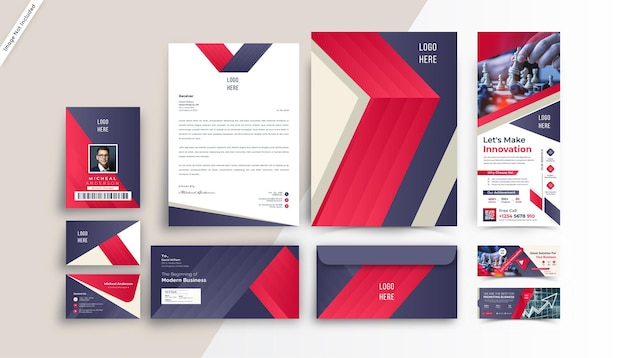 Design de modelo de papelaria de identidade de marca moderna