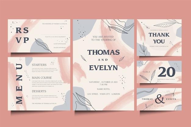 Design de modelo de papelaria elegante casamento
