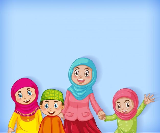 Design de modelo de plano de fundo com a família muçulmana em azul