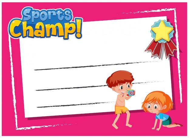 Design de modelo de plano de fundo com crianças e palavra esportes campeão