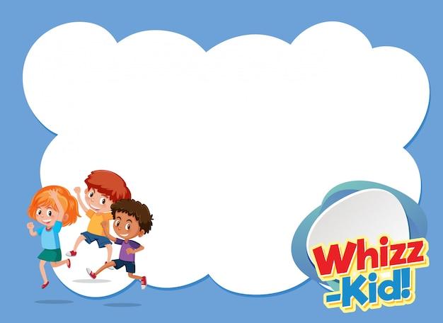 Design de modelo de plano de fundo com crianças felizes e palavra whiz-kid