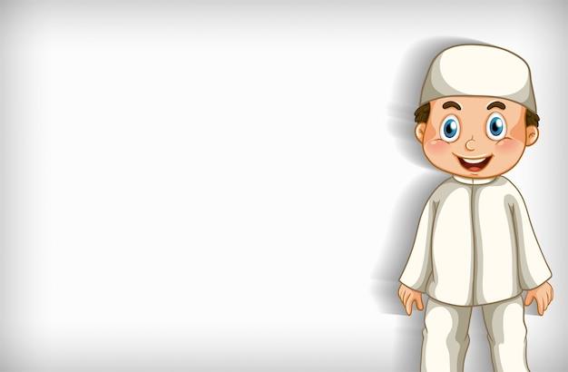 Design de modelo de plano de fundo com feliz menino muçulmano