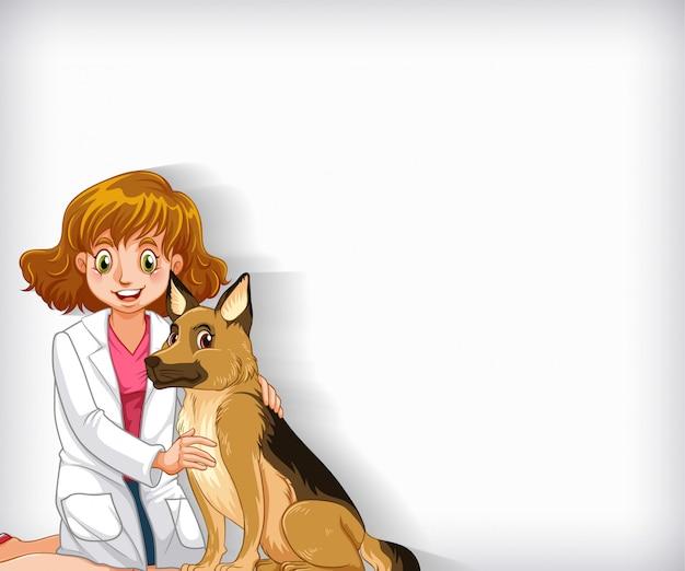 Design de modelo de plano de fundo com feliz veterinário e cão de estimação