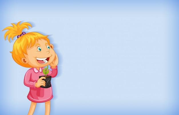 Design de modelo de plano de fundo com garota feliz e planta em vaso