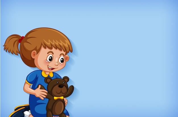 Design de modelo de plano de fundo com menina e ursinho