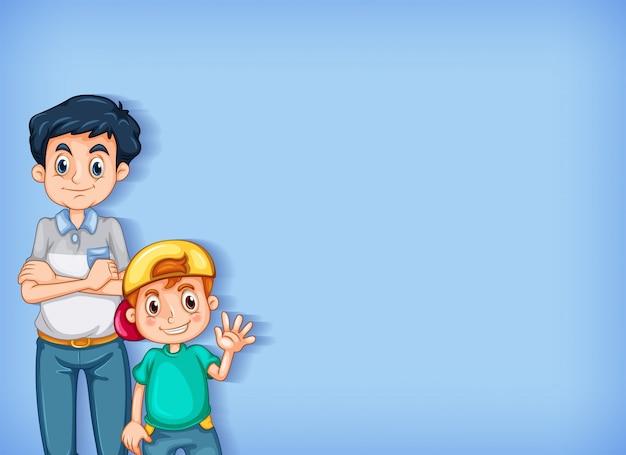 Design de modelo de plano de fundo com menino e homem feliz