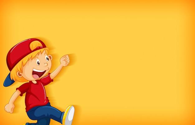 Design de modelo de plano de fundo com menino feliz andando