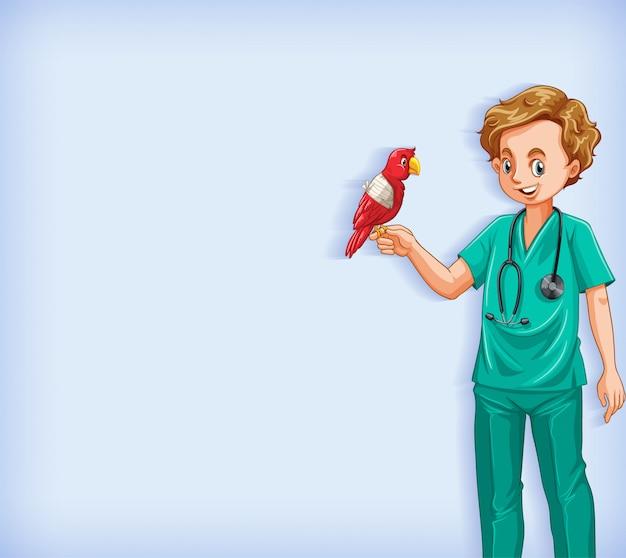 Design de modelo de plano de fundo com veterinário feliz com pássaro papagaio