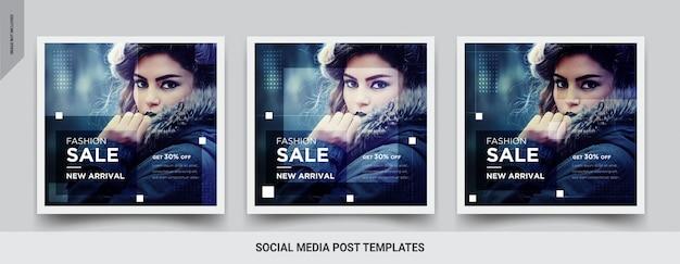 Design de modelo de post quadrado de mídia social de venda de moda