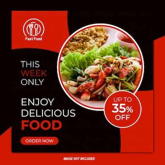 Design de modelo de post quadrado do instagram de banner de venda de restaurante