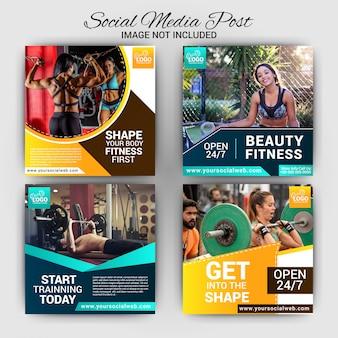 Design de modelo de postagem de mídia social de ginásio