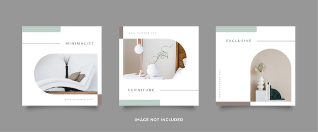 Design de modelo de postagem de mídia social de móveis elegantes.