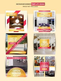 Design de modelo de postagem de mídia social imobiliário