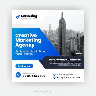 Design de modelo de postagem de mídia social para agência de marketing corporativo