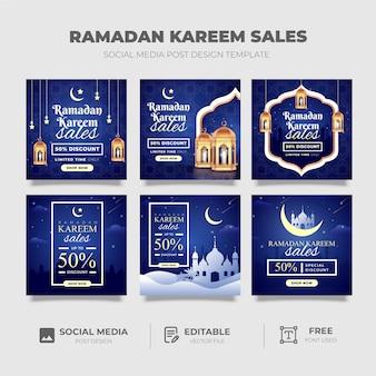 Design de modelo de postagem de mídia social ramadan kareem