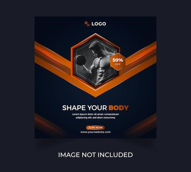 Design de modelo de pôster de mídia social para exercícios físicos de ginástica