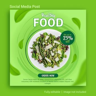 Design de modelo de publicação de mídia social para venda de comida saudável