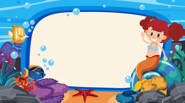 Design de modelo de quadro com sereia e peixe no fundo