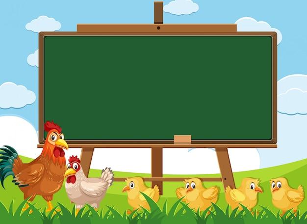 Design de modelo de quadro-negro com galinhas na fazenda na