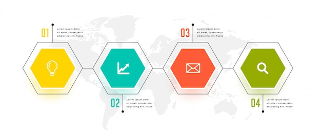 Design de modelo de quatro etapas de infográfico de forma hexagonal