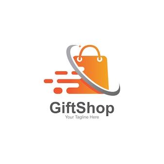Design de modelo de símbolo de logotipo de loja de presentes