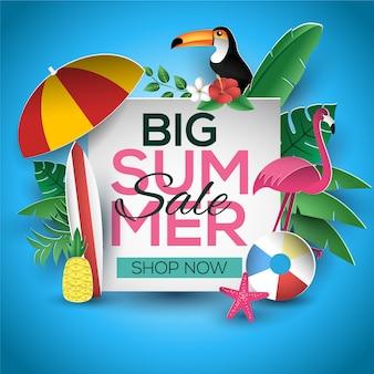 Design de modelo de sinal de venda de verão