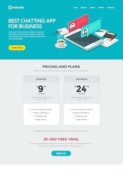 Design de modelo de site de aplicativo de mensagens de bate-papo para página de destino de negócios ou site e layout de vetor de aplicativo de bate-papo ao vivo